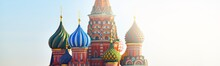 Saint Basil's Cathedral In Moscow, Russia. Famous Colourful Church. Travel Destinations, Landmarks, Sightseeing, Russian Culture And Orthodox Religion, History, Architecture. Panoramic View