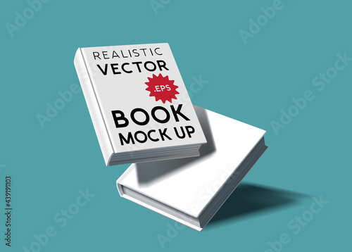 A set of two blank realistic hardcover book mock ups. E-Book marketing template vector illustration.