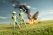 Vintage Flying Saucer UFO Crash Site With Green Aliens. Classified Extra-terrestrial Life On Earth. 3D Illustration