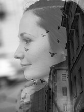 Monochrome Artistic Black White Multi-Exposure Photo Of A Girl Profile, With Flying Birds On Her Face