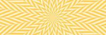 Vector Illustration Of Star-shaped Pattern With Optical Illusion. Op Art Abstract Background. Long Horizontal Banner.