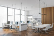 Panoramic white open space office with meeting room corner