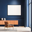 Stylish scandinavian composition of modern living room interior with design armchair, white mock up framed poster, wooden stool, parquet floor. Blue wall. Panoramic window. No people.