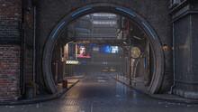 Cyberpunk Concept 3D Illustration Of A Dark Wet Seedy Futuristic City Street.