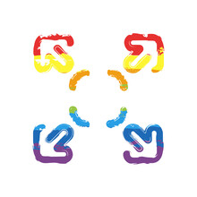 Compact Size, Change Scale, Resize Picture, Full Screen, Simple Icon. Drawing Sign With LGBT Style, Seven Colors Of Rainbow (red, Orange, Yellow, Green, Blue, Indigo, Violet