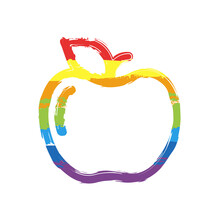 Apple With Leaf, Fresh Fruit, Simple Icon. Drawing Sign With LGBT Style, Seven Colors Of Rainbow (red, Orange, Yellow, Green, Blue, Indigo, Violet