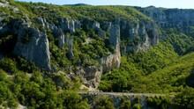 Panorama Of Vela Draga Limestone Canyon At Daytime In Vranja, Croatia. - Aerial