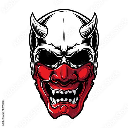 Canvas Print japanese demon samurai mask skull design