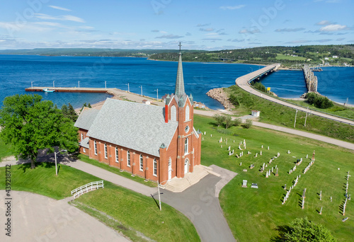 Aerial view of church in Iona, Nova Scotia Fototapet