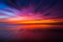 A Vivid Sunset Over The Sea With Bible Verse.