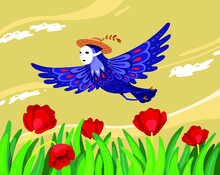 Face White Mask Blue Lilac Bird Fly Over Red Flower Poppy Field