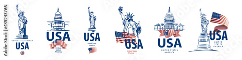 Fotografie, Tablou Vector set of signs of the Statue of Liberty and the White House of the United S