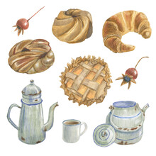 Collection Of Different Bakery Products, Mug, Berries And Teapots. Made In The Technique Of Colored Pencils. Hand Drawn.