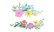 Floral Arrangement With Twigs And Flowers For Corner Decoration Vector Set