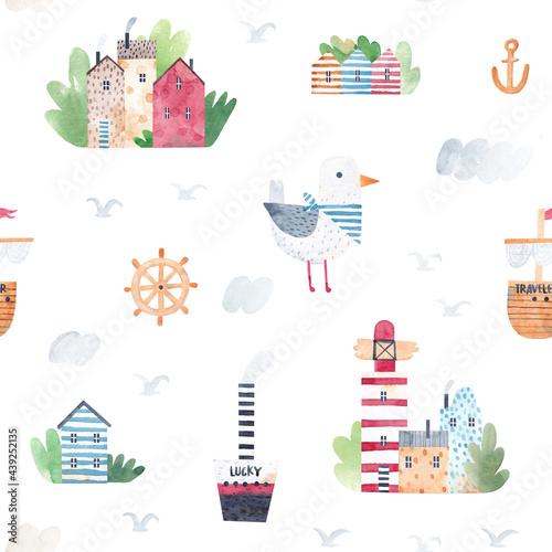 Tapety Skandynawskie  akwarela-bezszwowe-wzor-dziecinna-tekstura-z-domami-na-plazy-statkami-latarnia-morska-i-smieszna-mewa-kreatywne-dziecinne-tlo-dla-tkanin-tkanin-tapet-przedszkola-recznie-rysowane
