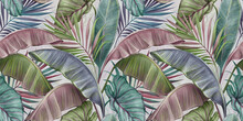 Tropical Exotic Luxury Seamless Pattern With Pastel Color Banana Leaves, Palm, Colocasia. Hand-drawn 3D Illustration. Vintage Glamorous Art Design. Good For Wallpapers, Cloth, Fabric Printing, Mural