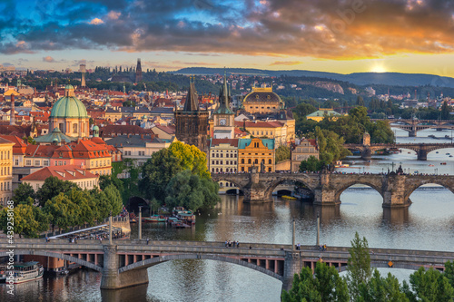 Fotografiet Prague Czech Republic, high angle view sunset city skyline at Charles Bridge and