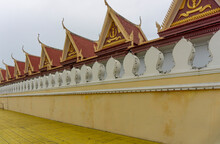 Royal Palace Security Fence With Tradition Khmer Archecture Design. Royal Palace In Phnom Penh City
