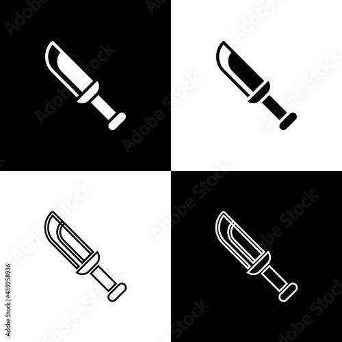 Set Military knife icon isolated on black and white background Fototapet