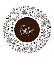 Hand Drawn Spicy Coffee Recipe Elements And Cup. Round Design With Coffee Mug And Spices Doodle Outline Vector Spices With Handwritten Lettering,. Hot Drink Recipe Sketch. All Elements Are Separated.