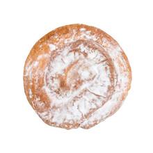 Spanish Ensaimada Spiral Pastry Isolated On White Background.