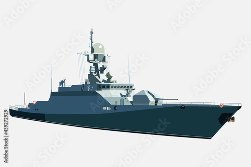 Canvastavla Naval ship, vector image isolated on white background.