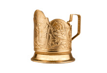 Cup Holder Isolated On A White Background. Old Gold-colored Metal Cup Holder.