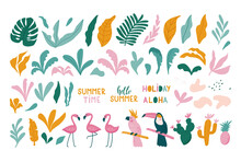 Summer Set Of Design Elements Tropical Leaves, Flamingos, Toucan, Parrot. Vector