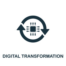 Digital Transformation Icon. Simple Creative Element. Filled Monochrome Digital Transformation Icon For Templates, Infographics And Banners
