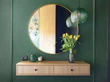 Dressing Table With Elegant Round Mirror. Home Staging