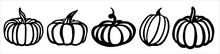 Pumpkin Set. Black And White Illustration In The Form Of A Logo Or Sign. Silhouette For Cutting On A Plotter, Suitable For SVG Format.