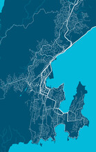 Detailed Map Of Wellington City, Linear Print Map. Cityscape Panorama.