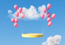 Pastel Round Podium With Balloon, Pedestal Or Platform, Background For Cosmetic Product Presentation