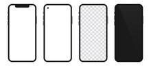 Realistic Templates Of Modern Smartphone. Vector Phone Mockup Set.