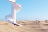 Surreal desert landscape with white spiral staircase on sand