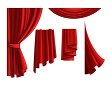Red Curtains. Realistic Velvet Drapery Element. 3D Classic Scarlet Textile Cloth For Windows And Theatre Stage. Luxury Interior Decor Template. Vector Isolated Decorative Fabric Drapes Set