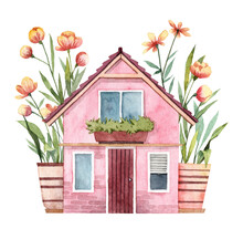 Tiny House With Floral Garden. Watercolor Hand Painted Pink Cottage