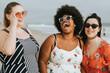 Leinwandbild Motiv Cheerful diverse plus size women at the beach