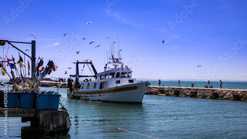 Obraz na płótnie Retour au port d'un bateau de pêche