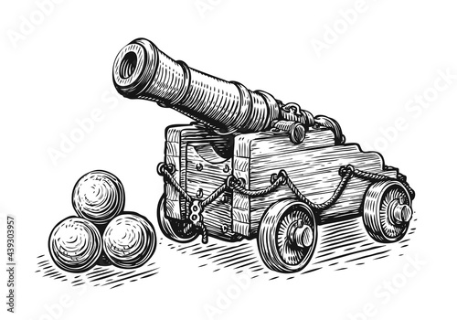 Tela Old pirate ship cannon and cannonballs