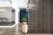 Leinwandbild Motiv Dark wooden slatted partiton in stylish office area with workspace on a podium behind a glass wall
