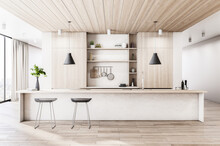 Modern Wood And Concrete Kitchen Interior With Island, Appliances And Window With City View And Daylight. 3D Rendering.