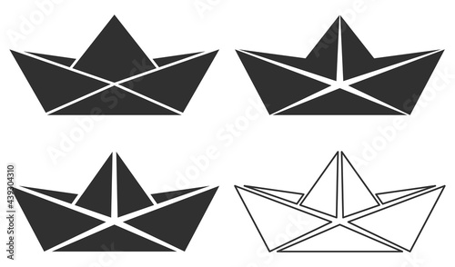 Fotografia Set of folded paper boat icon. Vector illustration.