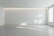 Leinwandbild Motiv Sunny spacious hall room with blank wall, light glossy concrete floor and window. 3D rendering, mock up