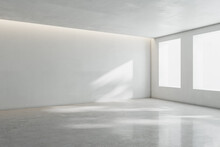 Blank Light Wall In Sunny Spacious Empty Room With Big Windows And Concrete Floor. 3D Rendering, Mock Up