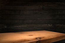 Empty Wooden Deck With Table Cloth, Napkin Over Wall Background