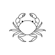 Crab In Line Art Style