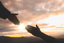 Silhouette Of Reaching, Giving A Helping Hand, Hope And Support Each Other, Hand Help.