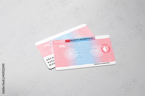 Canvastavla European permanent residence card on isolated white background