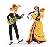 A Mexican Skeleton Of A Musician With A Guitar And A Dancer In A Dress . Design Elements On A White Background For Layouts And Postcards. Vector Illustration In Cartoon Style.